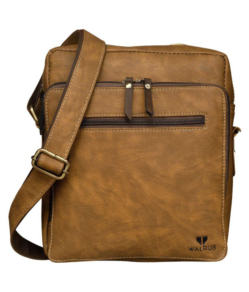 Walrus WMB-MSN-060606 Beige Synthetic Casual Messenger Bag