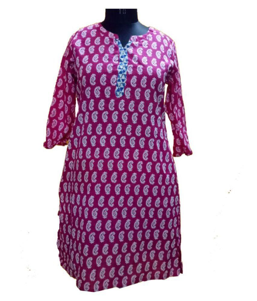 Jhoomar Pink Cotton Straight Kurti