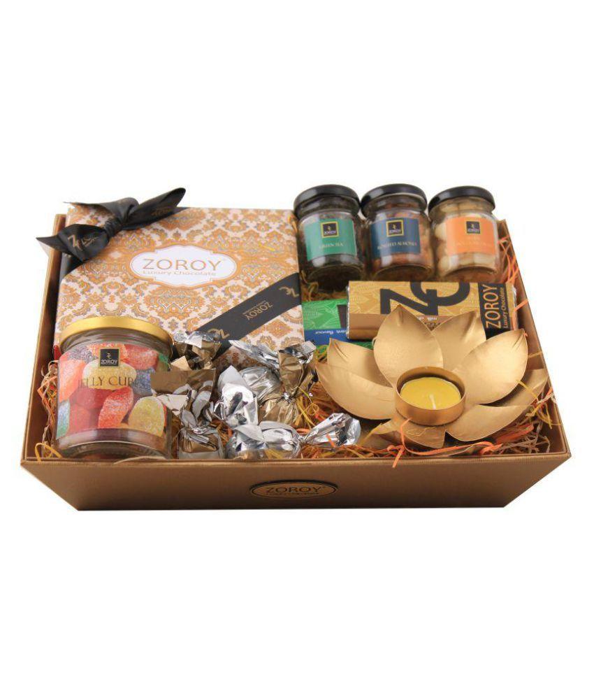 Zoroy Luxury Chocolate Assorted Box Diwali Gold Basket Tray 630 gm