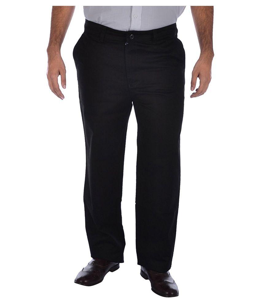 saba Black Regular -Fit Flat Chinos