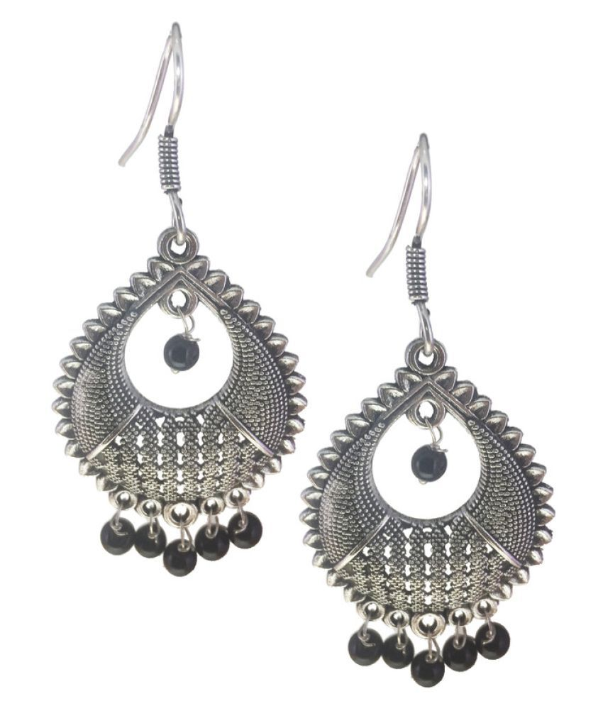 e021f11aa ... Black Designer Oxidised Long Hanging Earrings - Buy My Design Black  Designer Oxidised Long Hanging Earrings Online at Best Prices in India on  Snapdeal