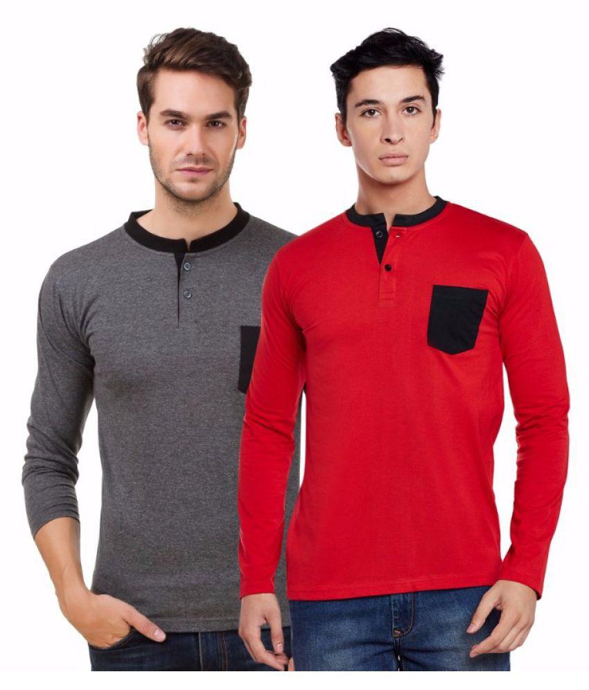 Sen Voler Grey Henley T-Shirt