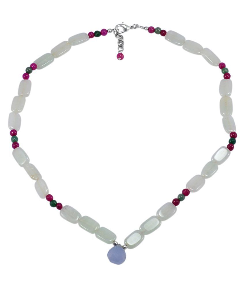 Silvesto India Chalcedony, Pink & Green Jade Necklace PG-131946