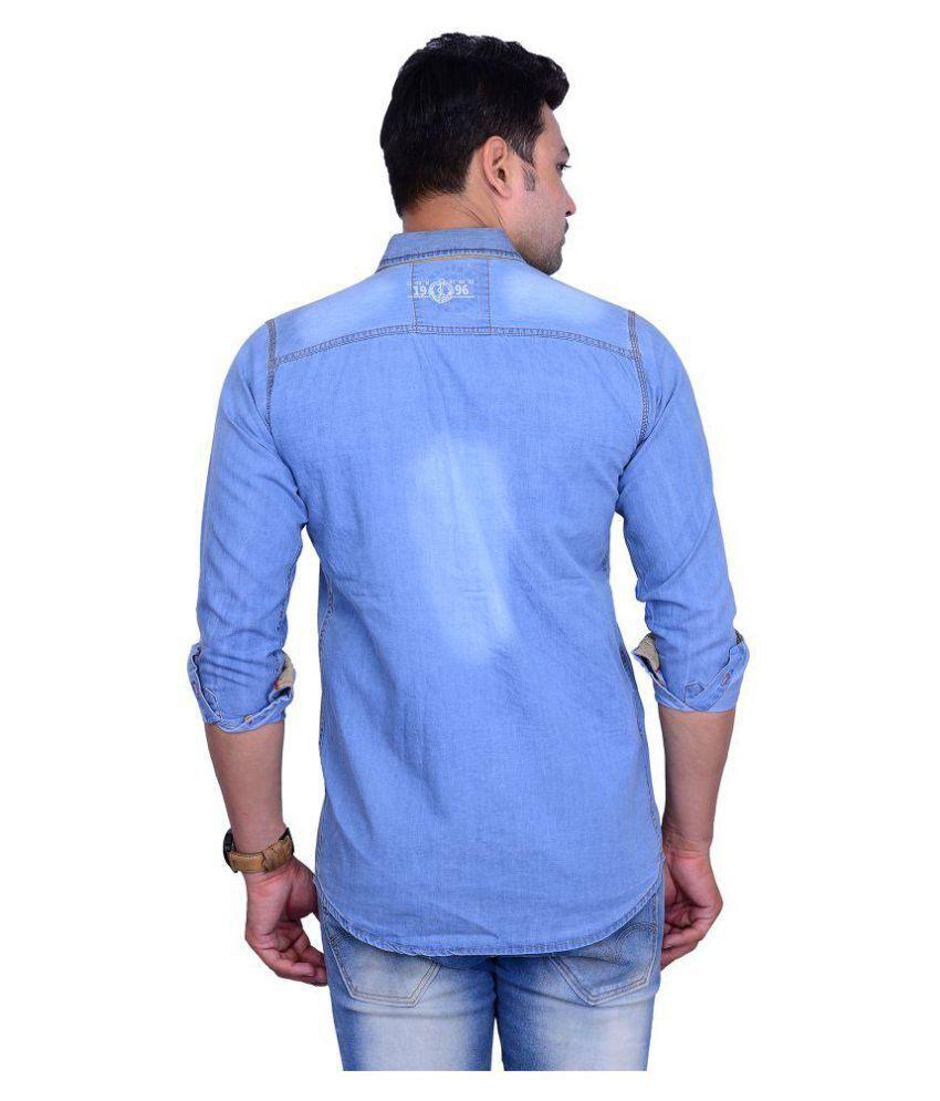 La Milano Blue Casual Slim Fit Shirt