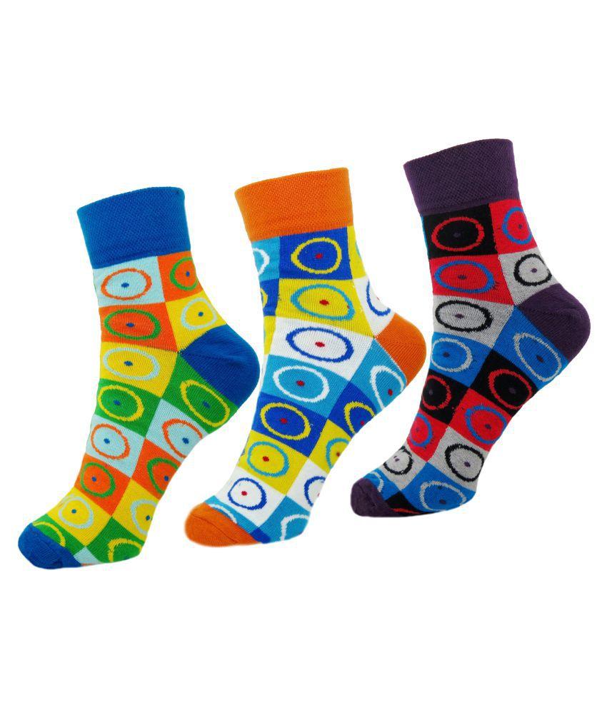 Neska Moda Premium Women's 3 Pairs Cotton Ankle Length Socks-Multicolor