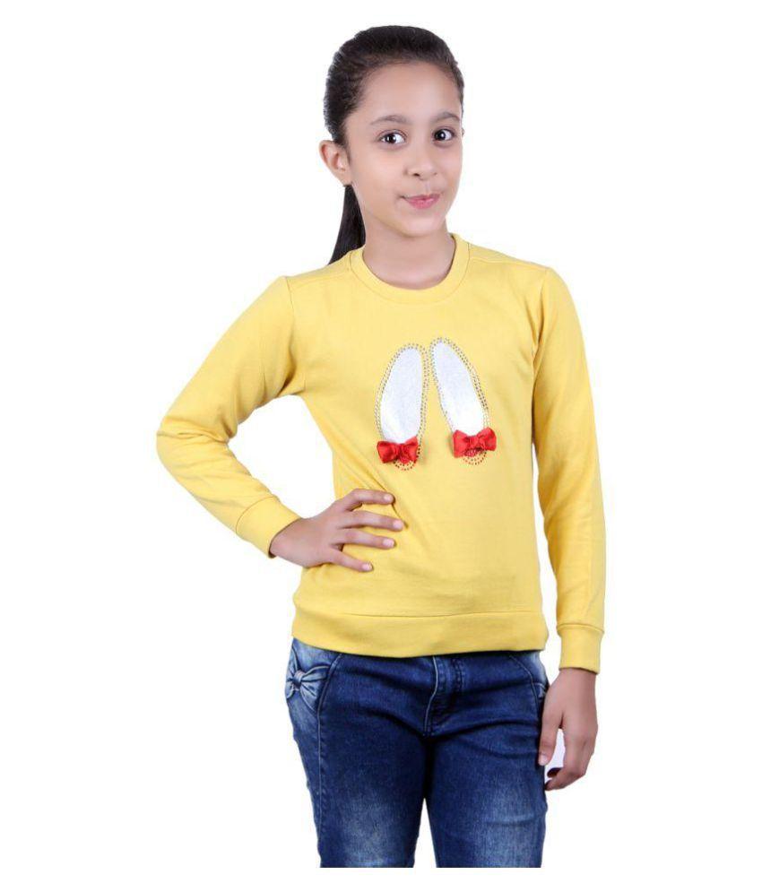 GOLFER KIDS GIRLS COTTON PRINTED yellow SWEATSHIRTS