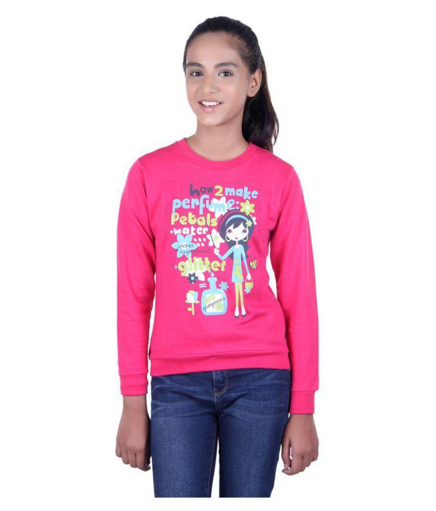 GOLFER KIDS GIRLS COTTON PRINTED dark pink SWEATSHIRTS