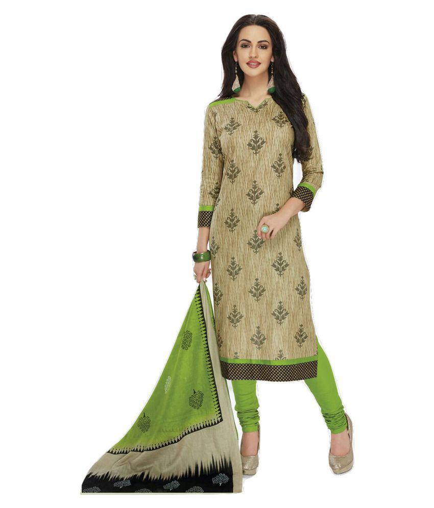 Shalibhadra Green Cotton Dress Material
