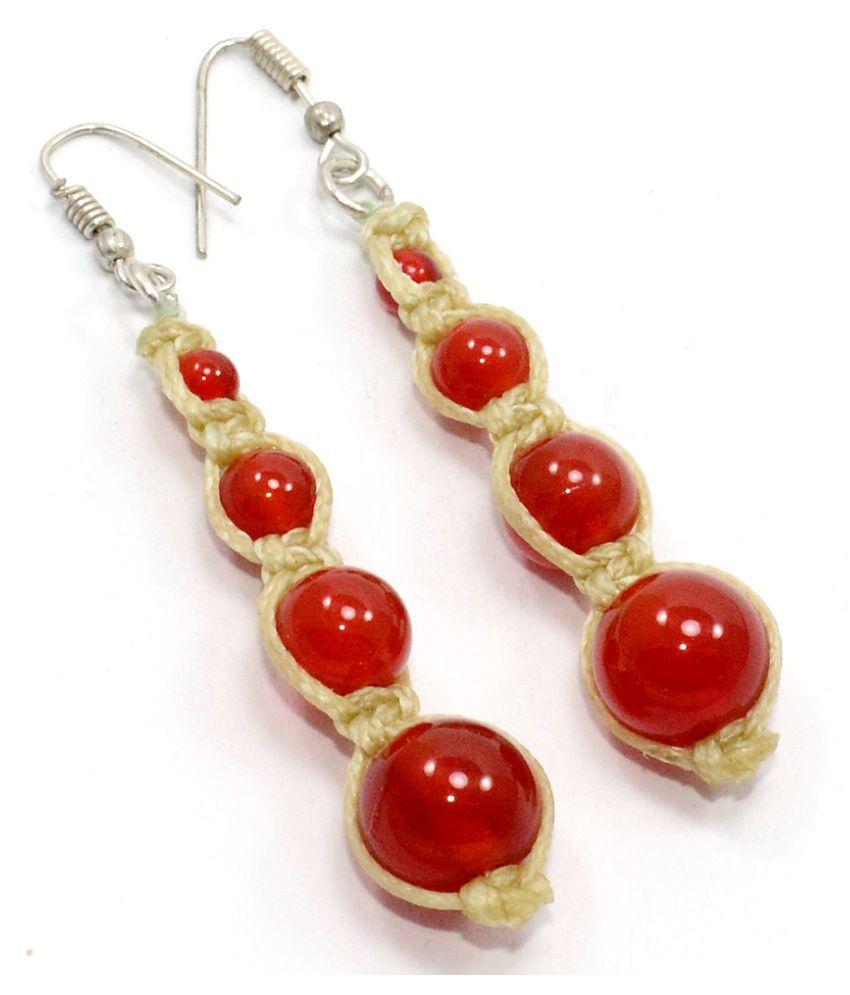 Silvesto India Red Onyx Gemstone Earring PG-106503