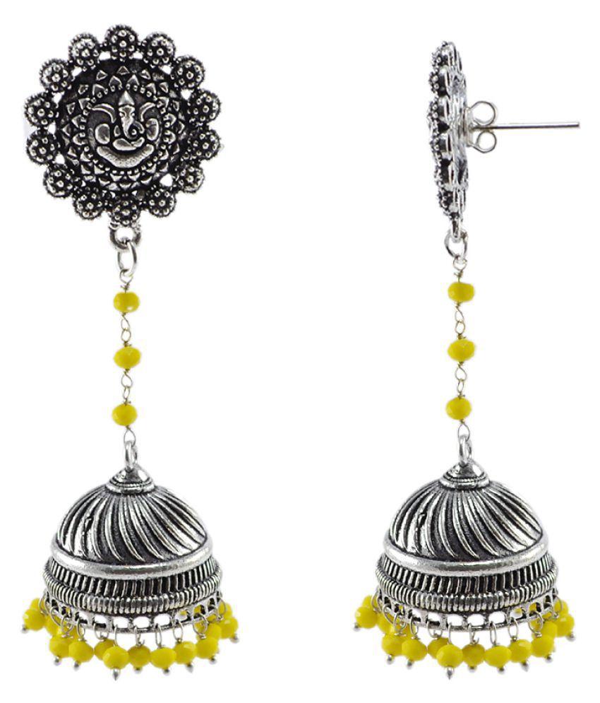 Urban Tribal Jaipuri Handmade Earring-Yellow Crystal Beads And Ganesha Studs Jhumki-Silvesto India PG-107232