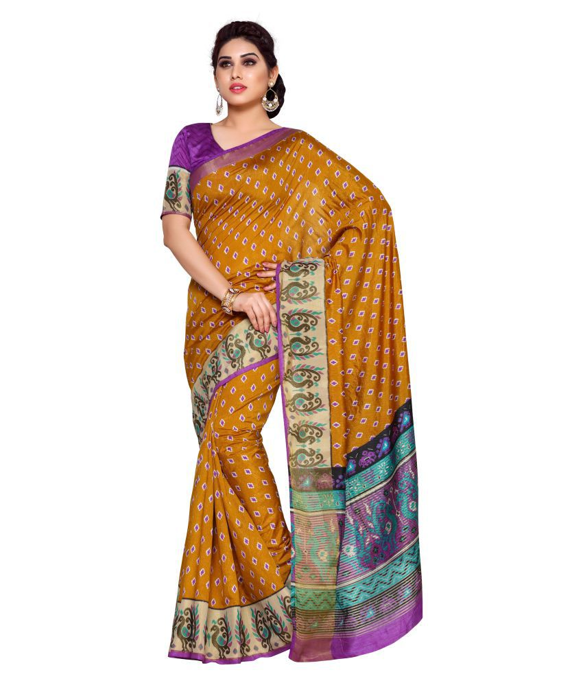 Mimosa Yellow and Beige Tussar Silk Saree