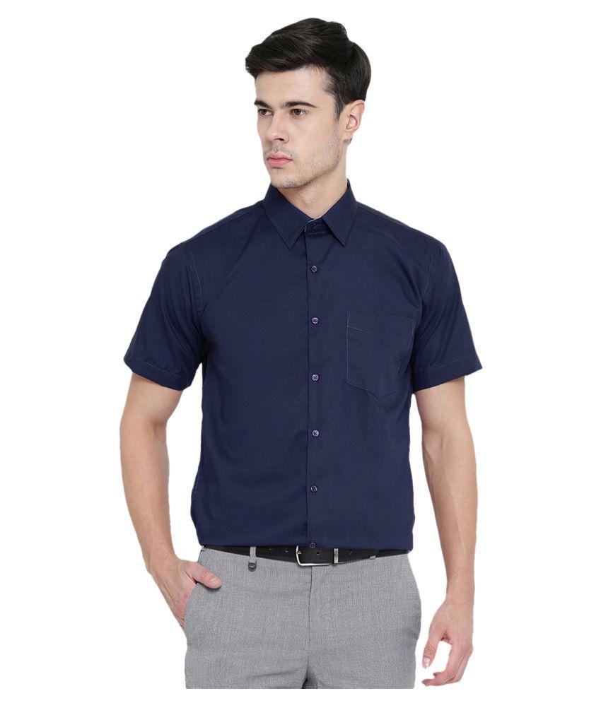 PRATAMI Blue Formal Regular Fit Shirt