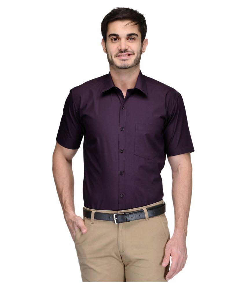 PRATAMI Purple Formal Regular Fit Shirt