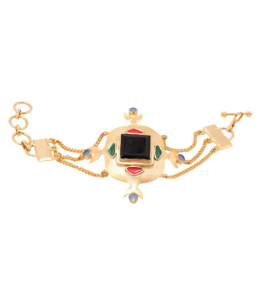 Colorful Stones Embellished Beautifully Enameled Link Bracelet