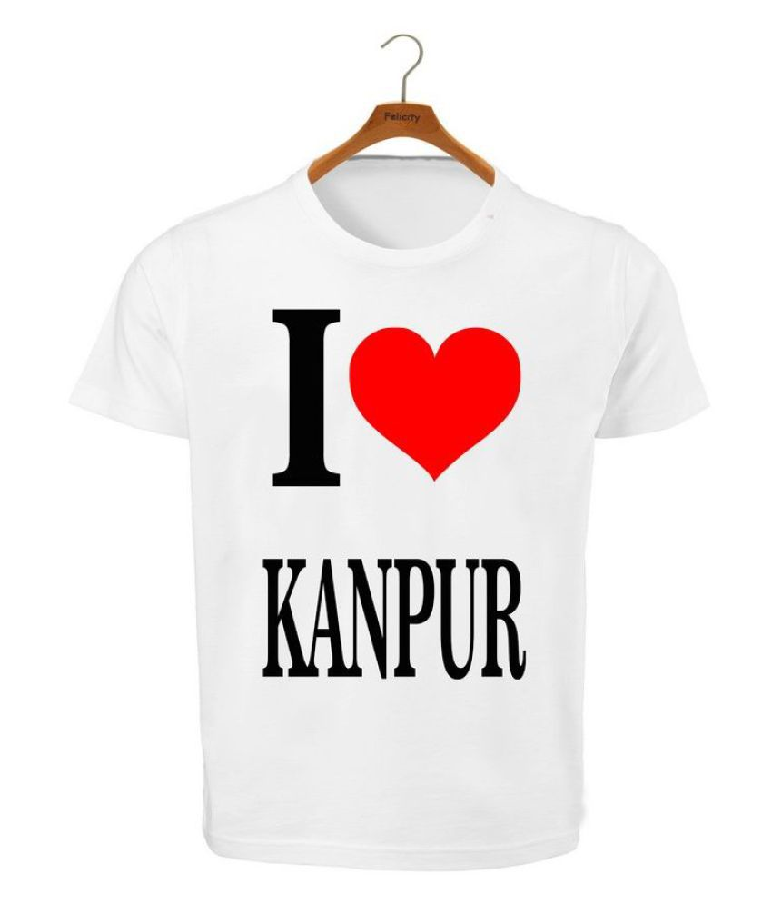 RITZEES White Dry Fit Polyester T-Shirt On I Love Kanpur