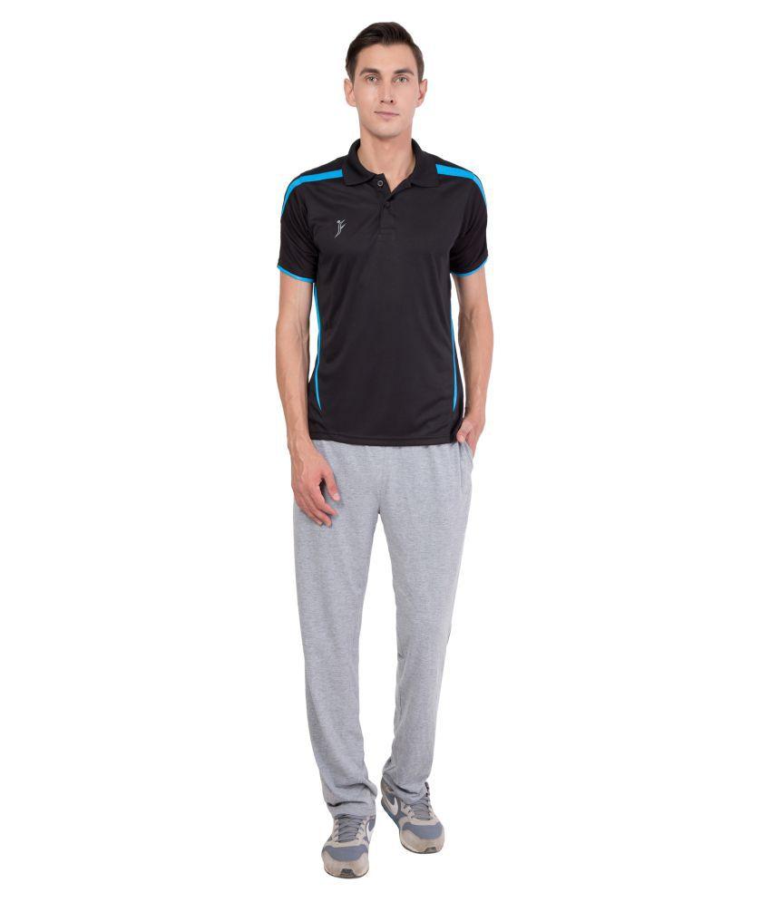 FINO Black Regular Fit Polo T Shirt