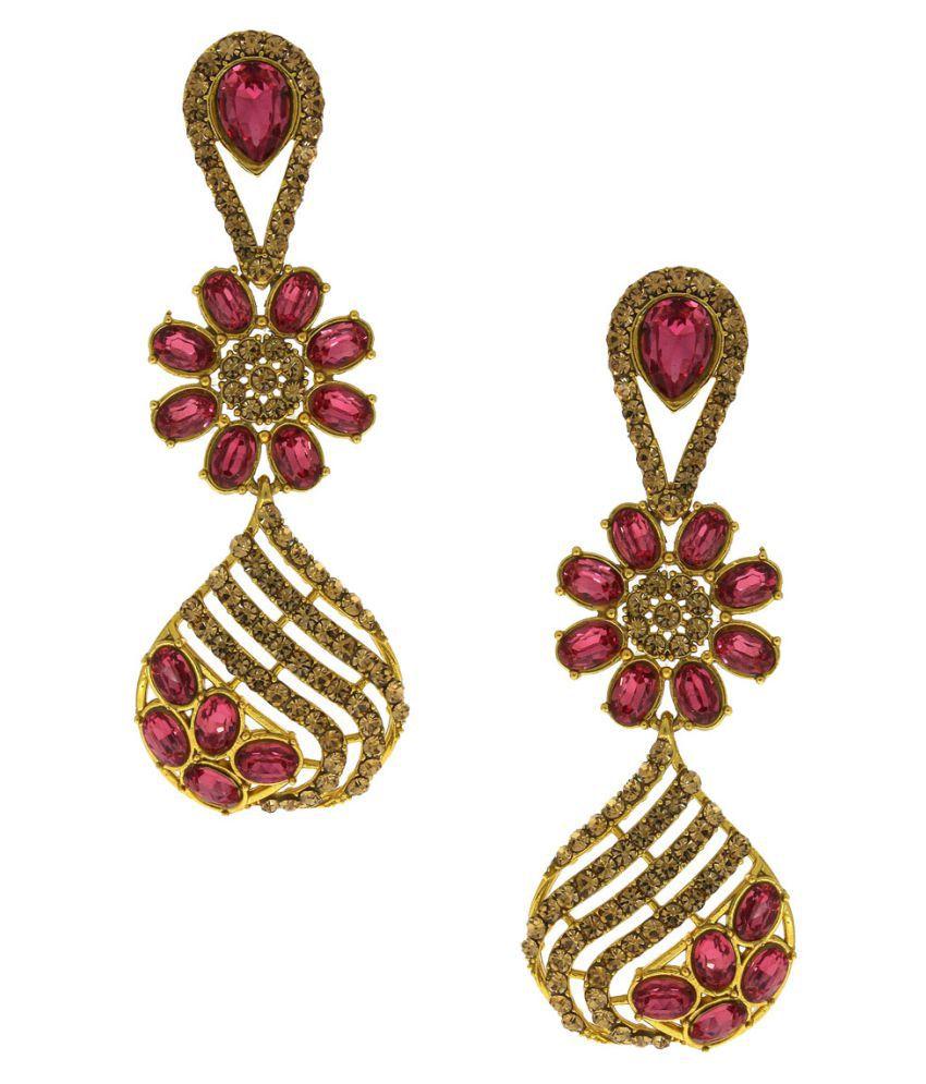 Anuradha Art Golden Finish Studded Pink Colour Shimmering Stone Wonderful Classy Traditional Long Earrings For Women/Girls