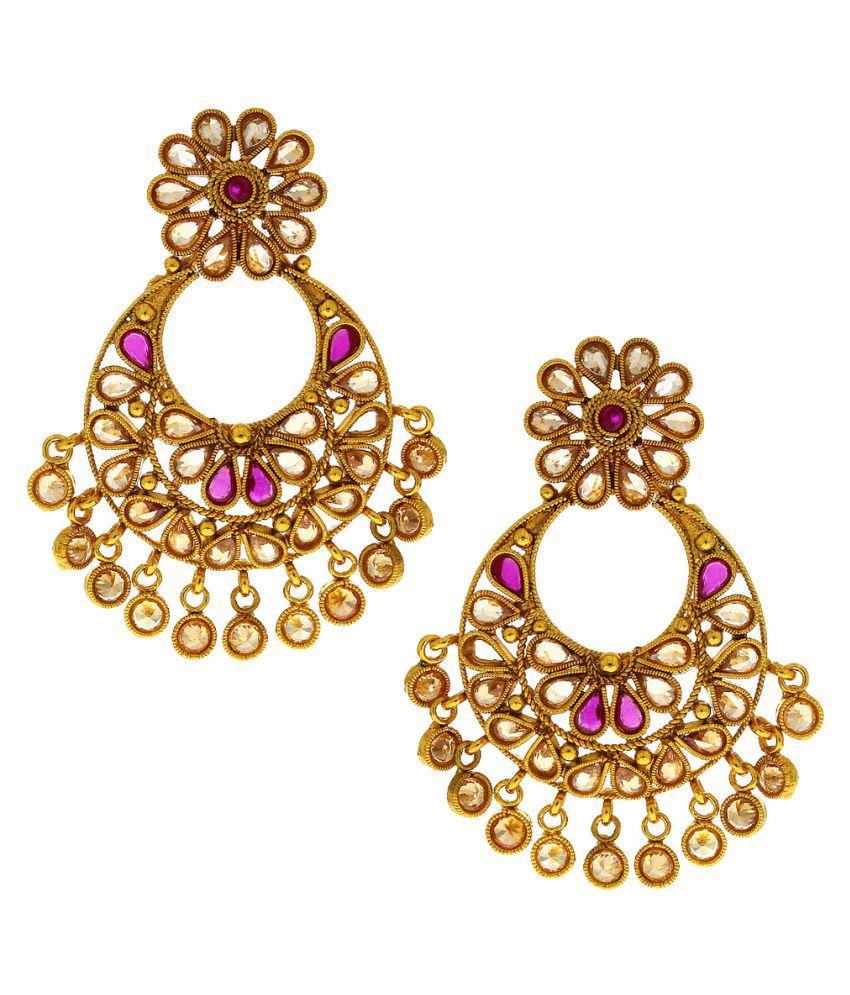 Anuradha Art Presenting Pink Colour Beautiful Flawer Designe Traditional Earrings For Women Girls