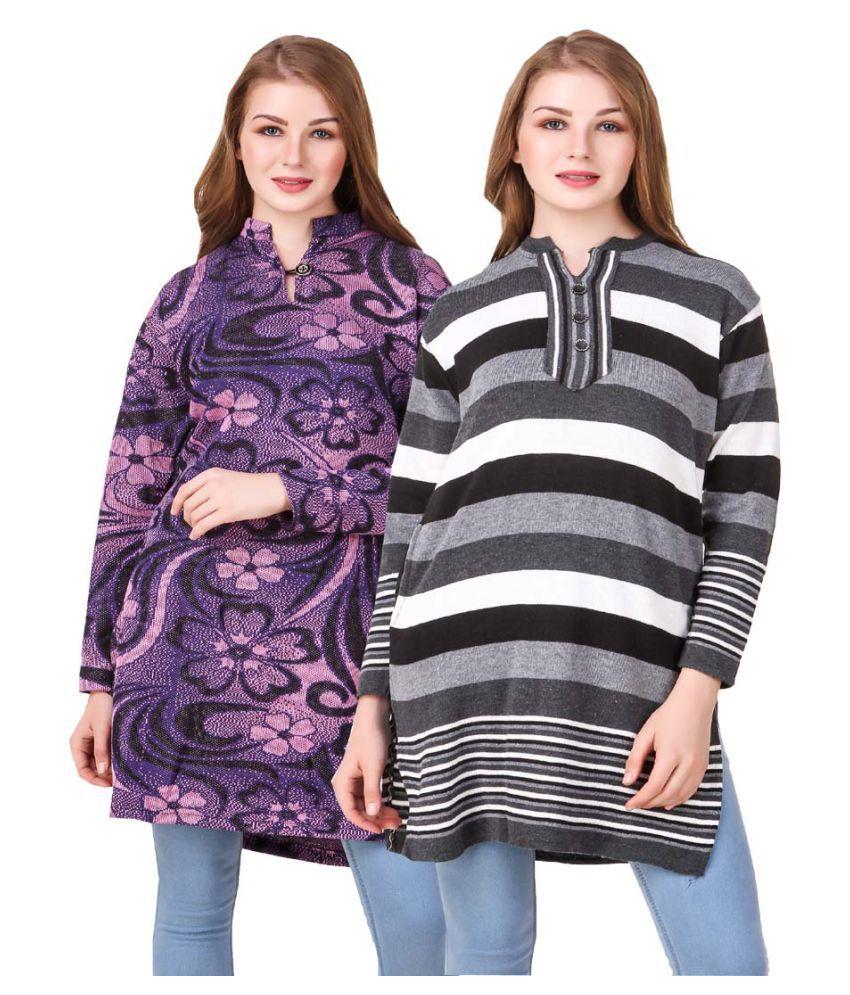 Hardy's Collection Multicoloured Woollen Straight Kurti