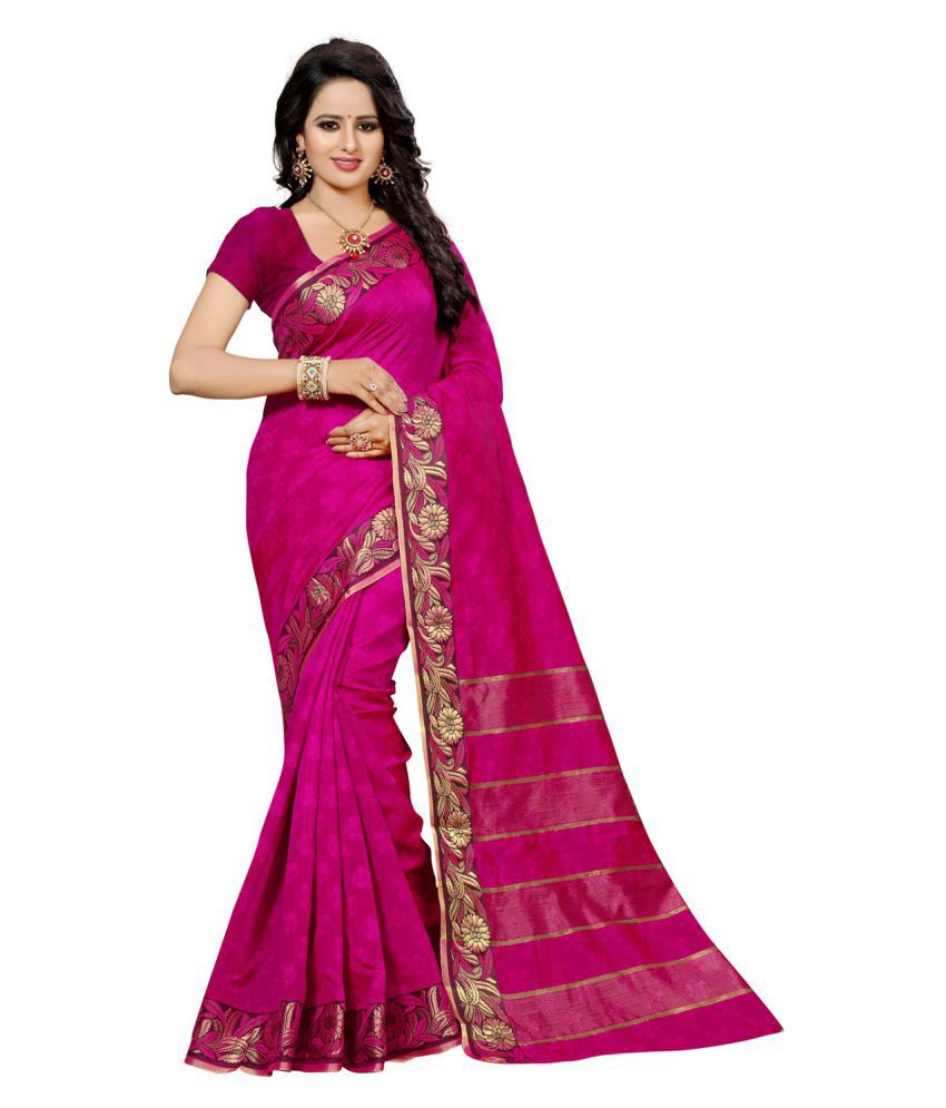 RJ Trandz Pink Cotton Silk Saree