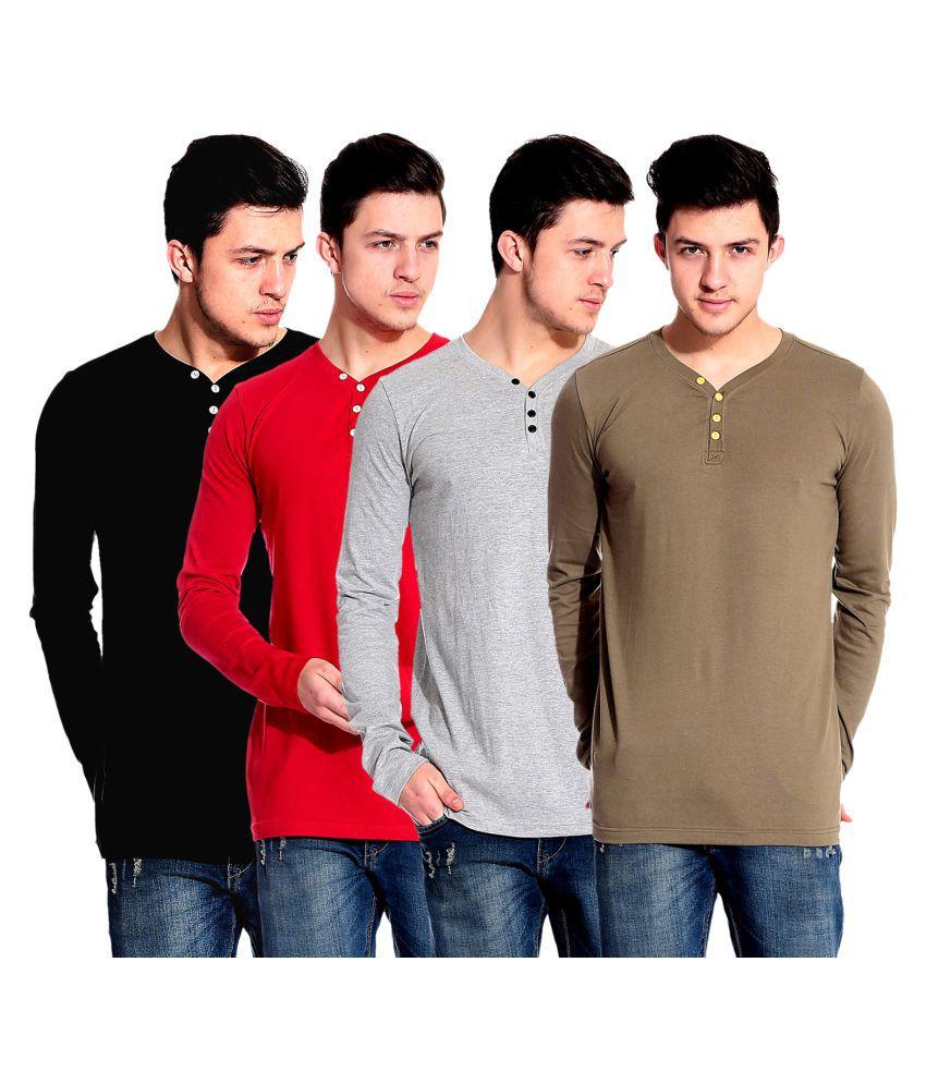 Lemon and Vodka Multi Henley T-Shirt Pack of 4