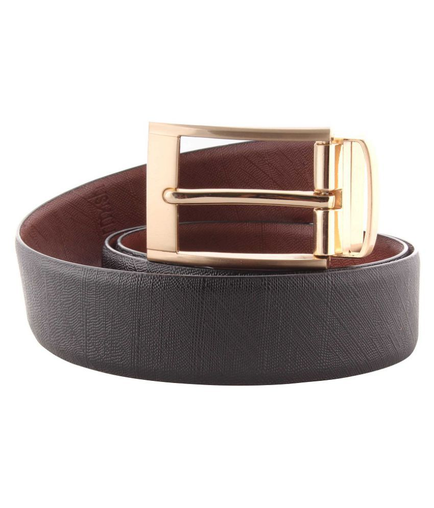 sawashh Black Leather Casual Belt - Pack of 1