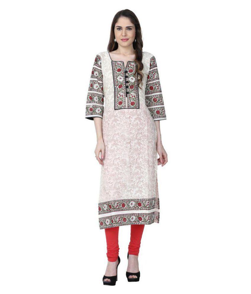 Varsha Fashion Off White Cotton Straight Kurti