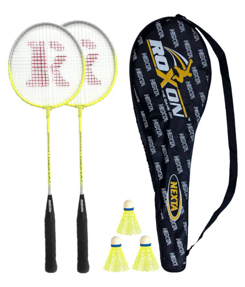 Roxon Nexta Badminton Racket (Set of 2) with 3 shuttles Assorted   Badminton  Kit  Buy Online at Best Price on Snapdeal 22f3e3985871e