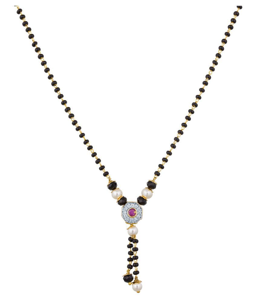 Aadita Fashion Jewellery Traditional Australian Diamond Pearl Mangalsutra with Chain