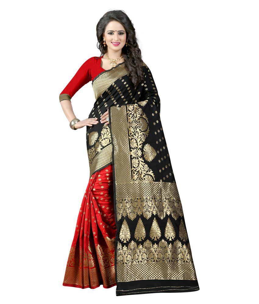 Jay khodal BLACK Art Silk Saree