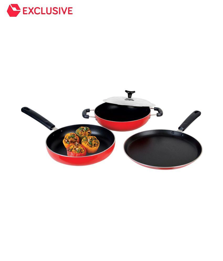 Crystal Non Stick Cookware Set Of 3 Tawa 25cm Frying Pan