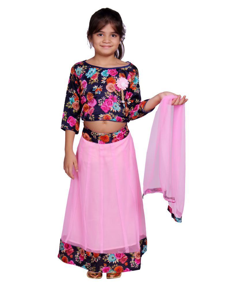 TINY TOON Girls Pink 3/4 Sleeve Traditional Dress,Lehanga Choli