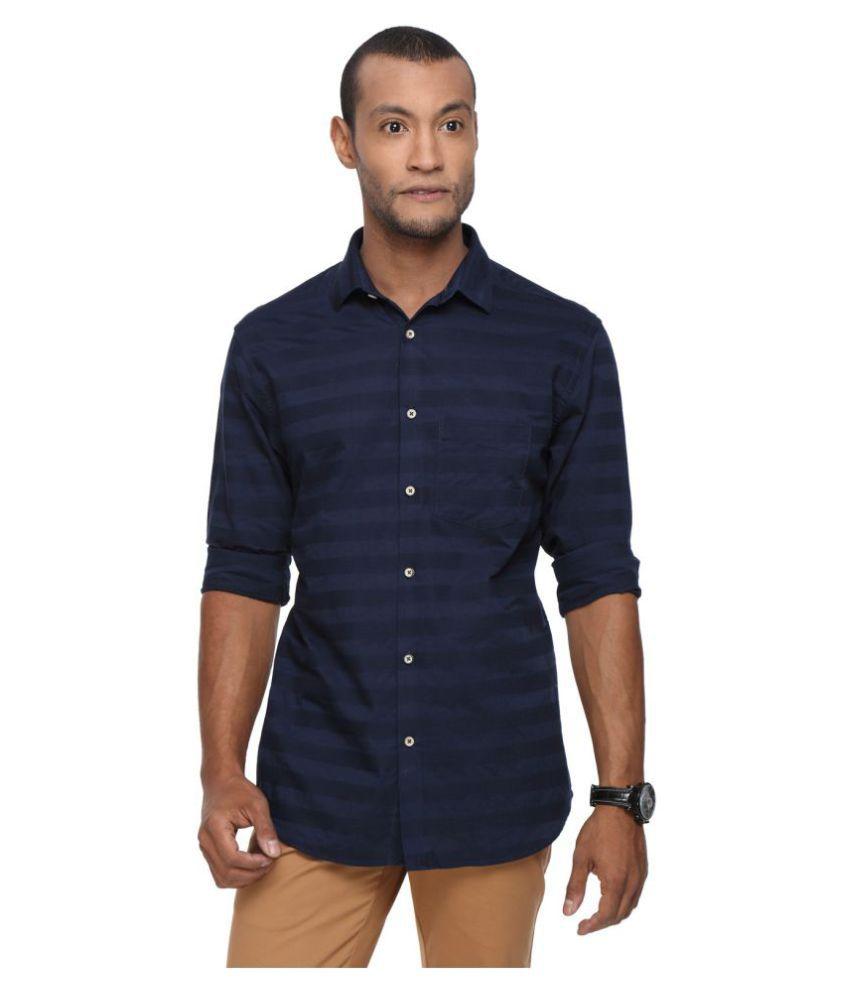 Aavtar Navy Casual Slim Fit Shirt