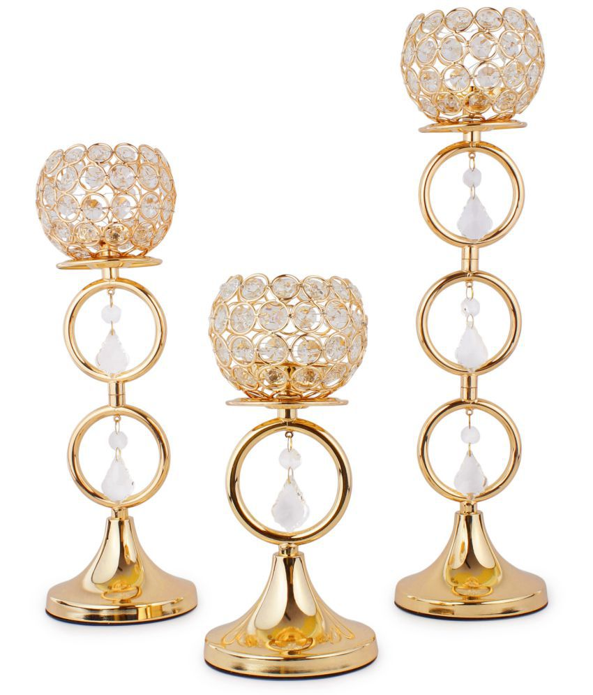 jewel fuel Gold Table Top Crystal Tea Light Holder - Pack of 3