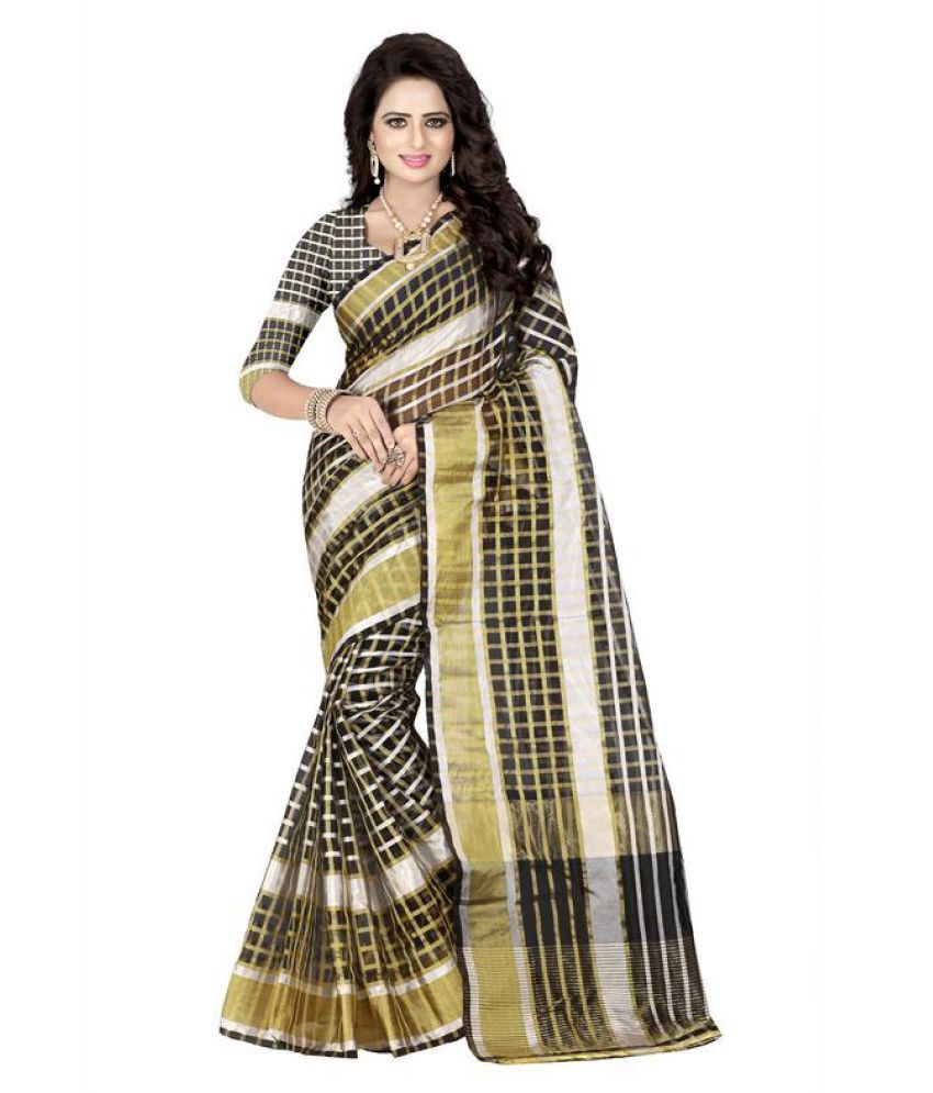 hars saree Black Cotton Saree