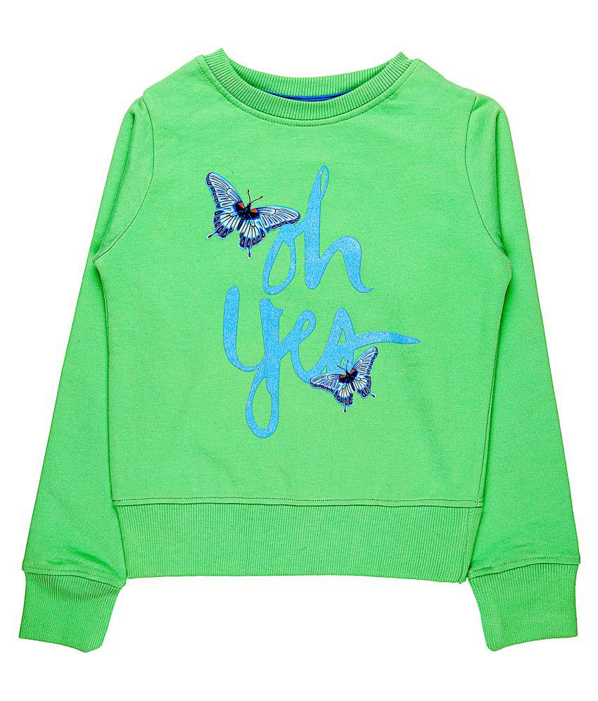 Quotee Winter Exclusive Girl's Graphic Printed Round Neck Mint Green Fleece Pullover Sweatshirt by GlamFolio IPL