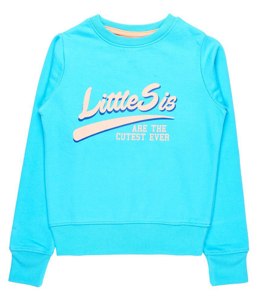 Quotee Winter Exclusive Girl's Graphic Printed Round Neck Light Blue Fleece Pullover Sweatshirt by GlamFolio IPL