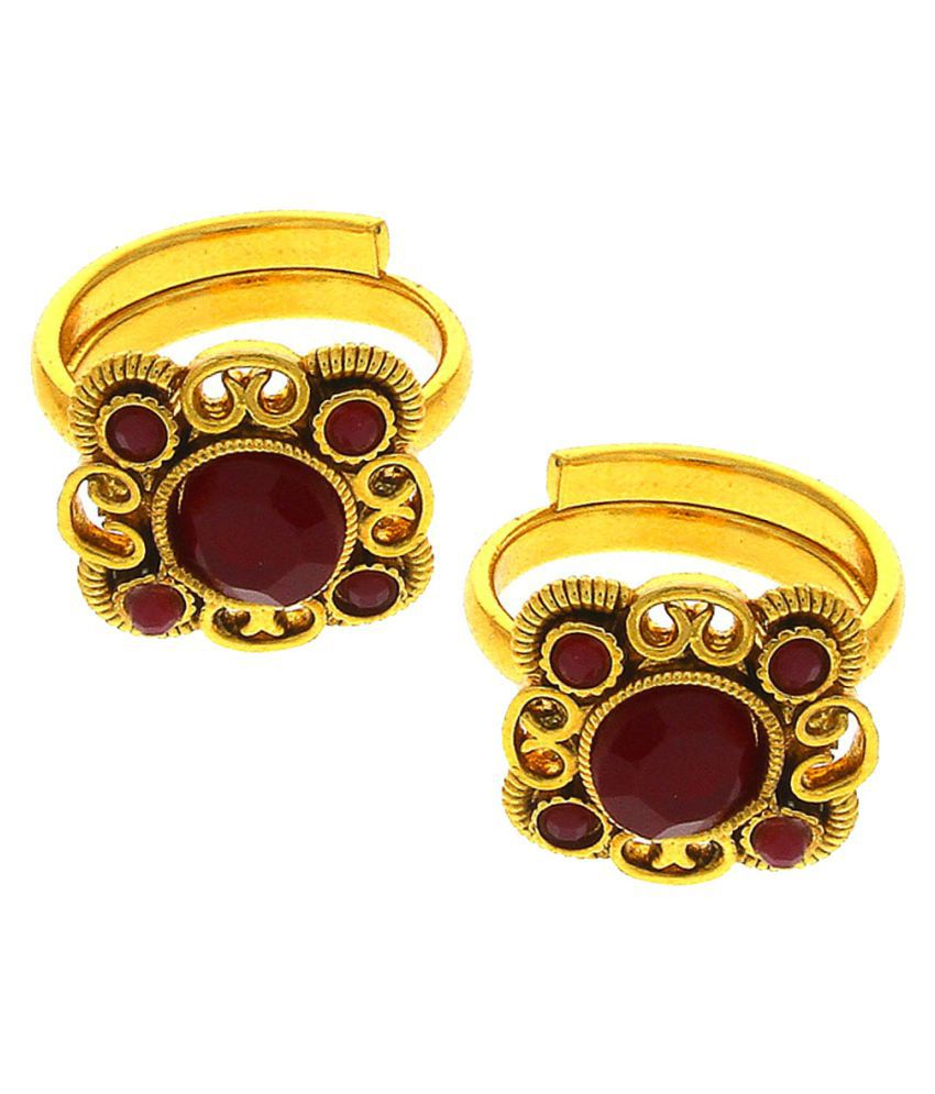Anuradha Art Golden Finish Studded With Red Colour Sparkling Stone Beautiful Traditional Toe Rings For Women