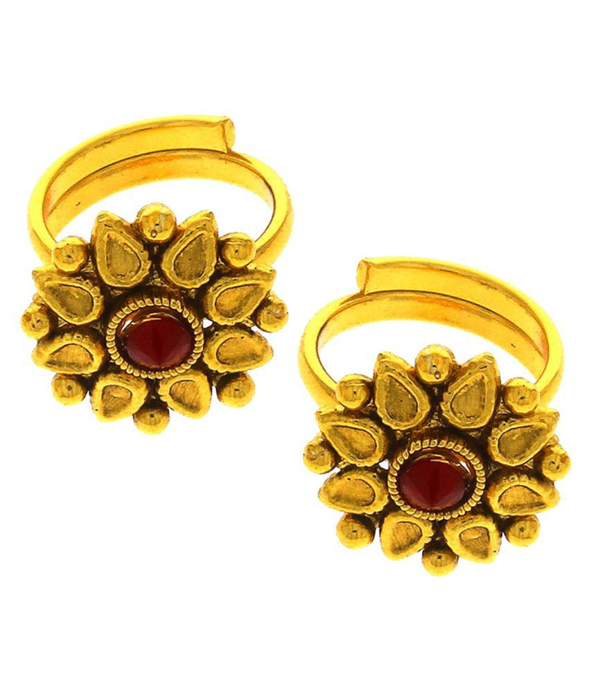Anuradha Art Presenting Maroon Colour Flower Inspired Beautiful Traditional Toe Rings For Women