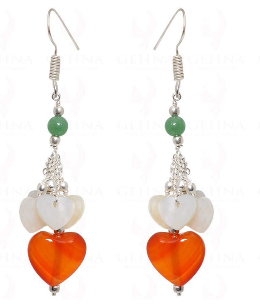 CARNELIAN HEART SHAPE & GREEN JADE BEADS EARRINGS IN .925 STERLING SILVER