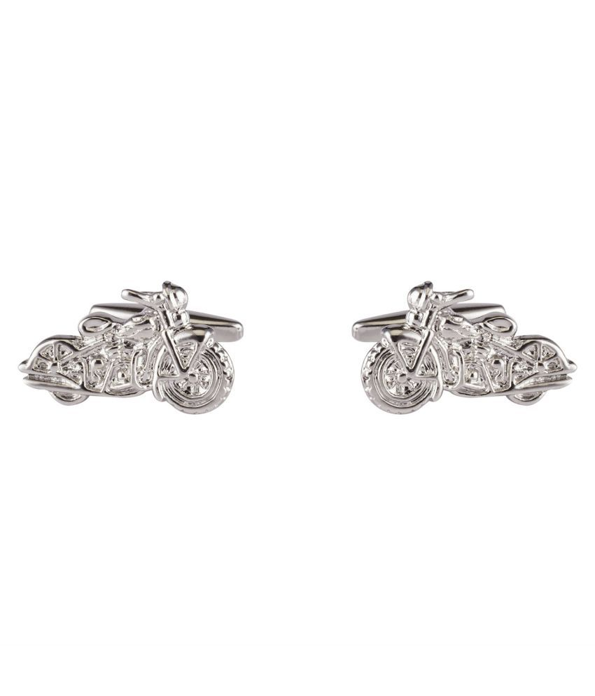DAPPER HOMME Silver Self Design Cufflinks for Men