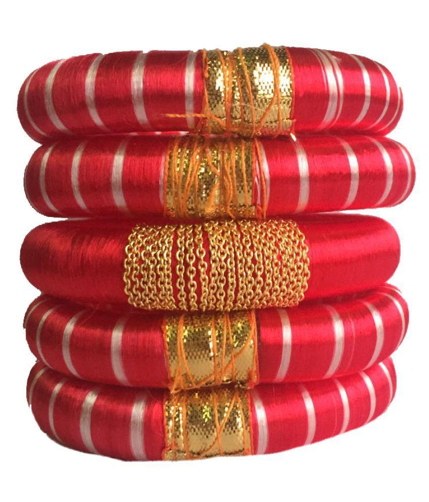 Handcrafted Elegent Silk Dori Plastic Bangle Set
