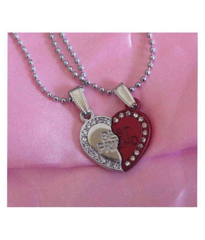 0aabf91563 ... Menjewell Couple Heart Jewellery Silver & Maroon Best Friends Forever  Broken Heart Pendant ...