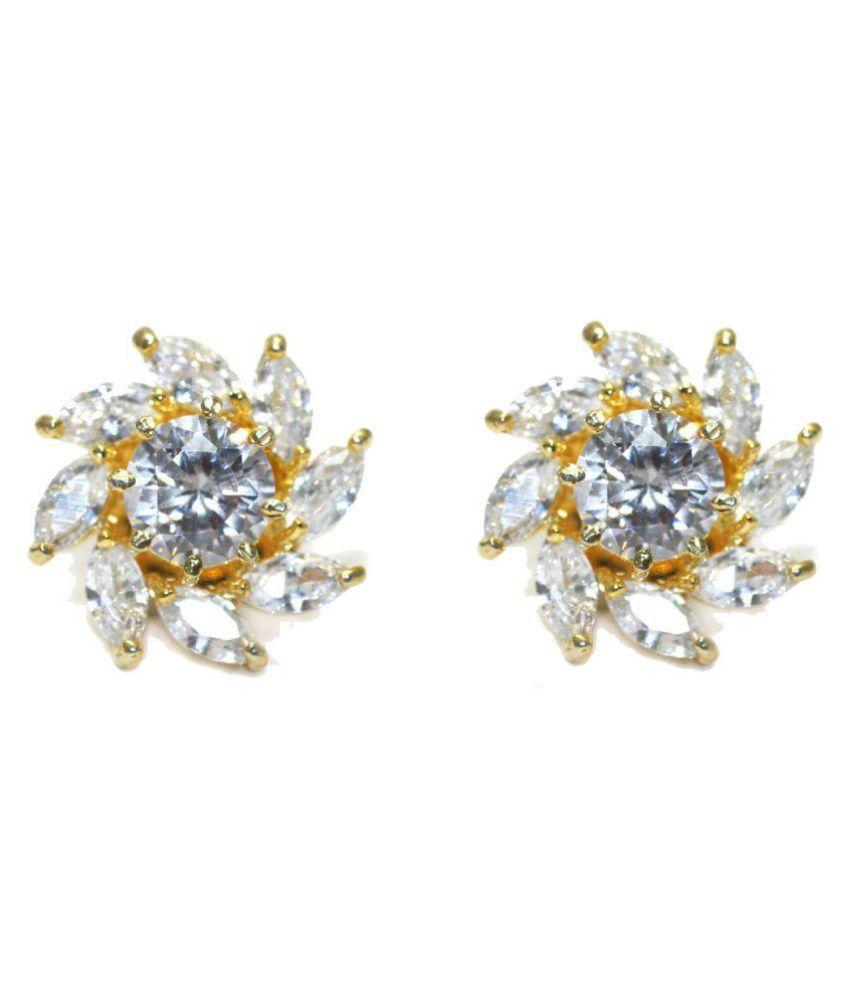Gold Plated Flower Shape Stud  Earring For Girl Women