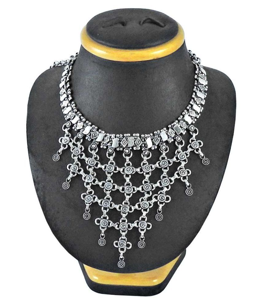 Miska Silver Hot Selling Ethnic Oxidized & Modern Fashion Necklace For Festivals & Parties