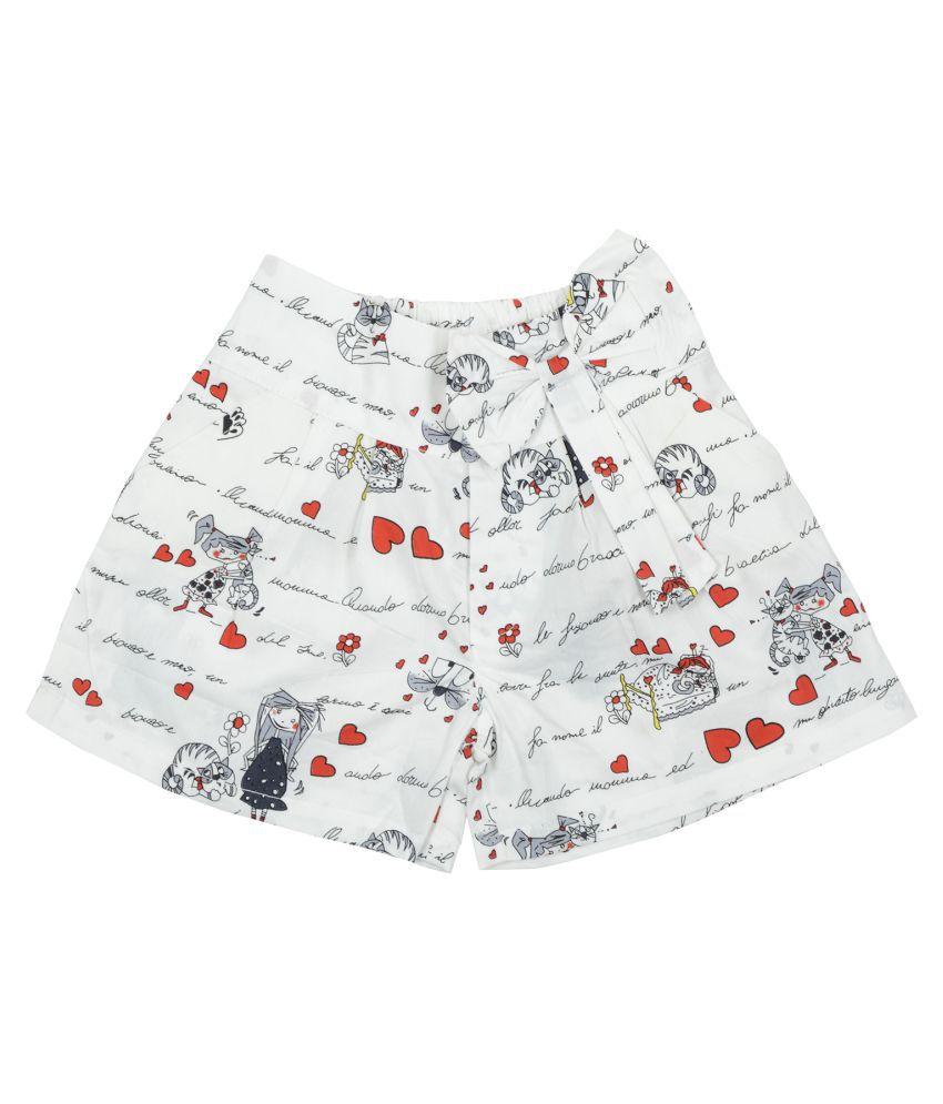 Carrel Cotton Fabric Girls Cream Short