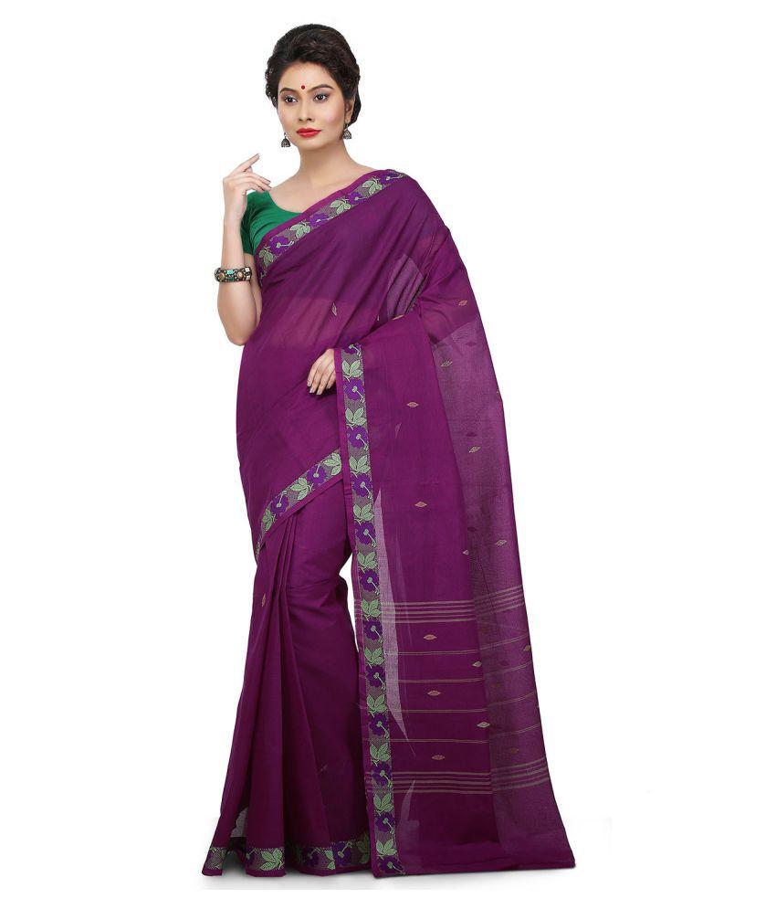 Platinaa Purple Cotton Saree