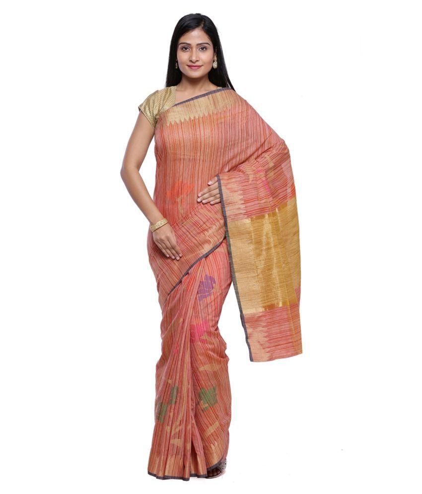 Banarasi Silk Works Orange Silk Saree