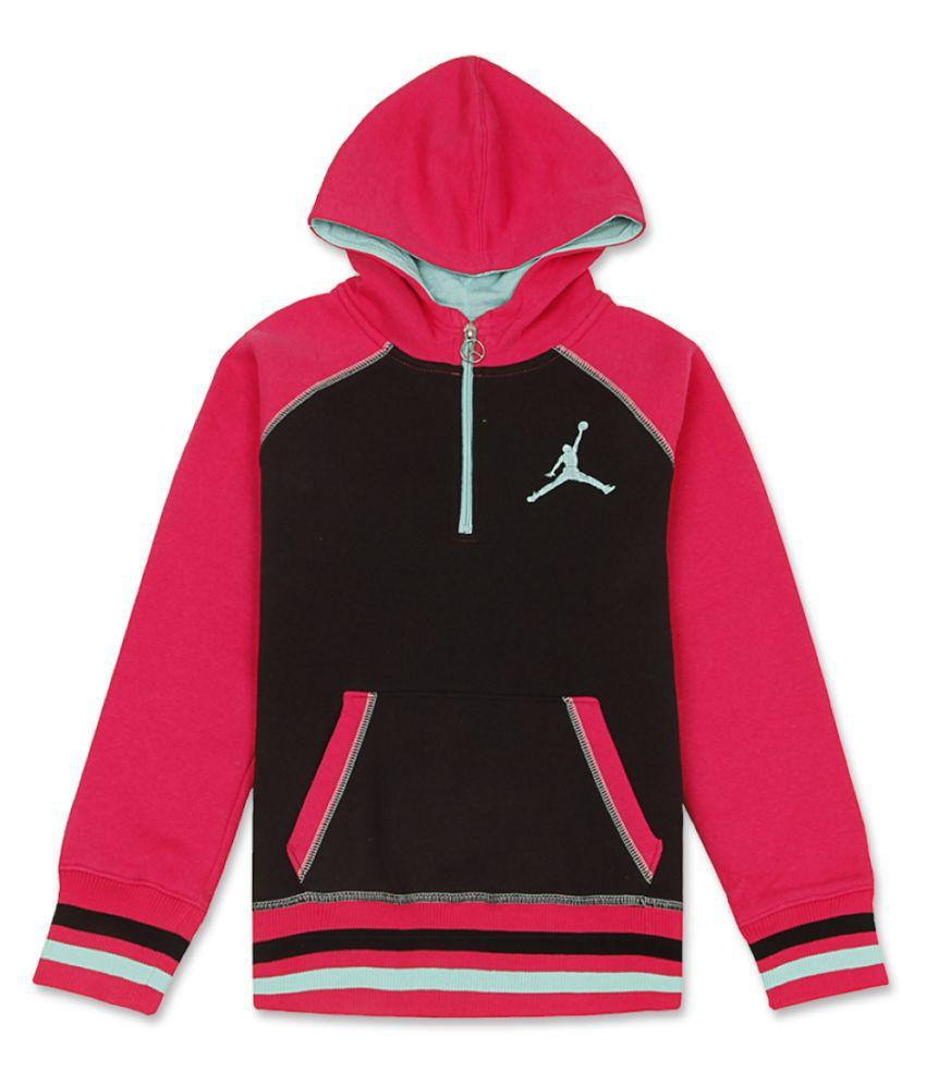 Jordan Girls Pink Full Sleeve Sweat Shirt