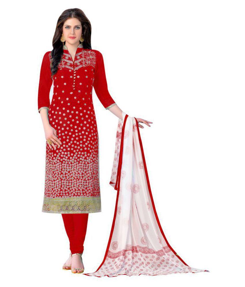 Urban Naari Red Cotton Dress Material